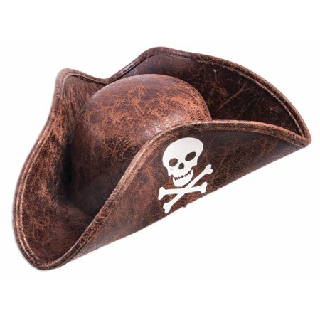 Brown Mini Pirate Tricorn Hat Skull Crossbones Unisex Costume Accessory