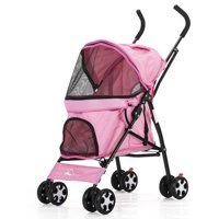 4 Wheels Pet Stroller Dog Cat Puppy Jogger Pushchair Travel Carrier Pram Wheels 22.8*13.7*38.5inch