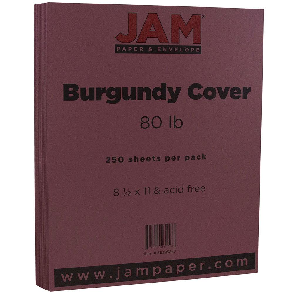 JAM Paper Matte Cardstock, 8.5 x 11, 80 lb Burgundy, 250 Sheets/Pack