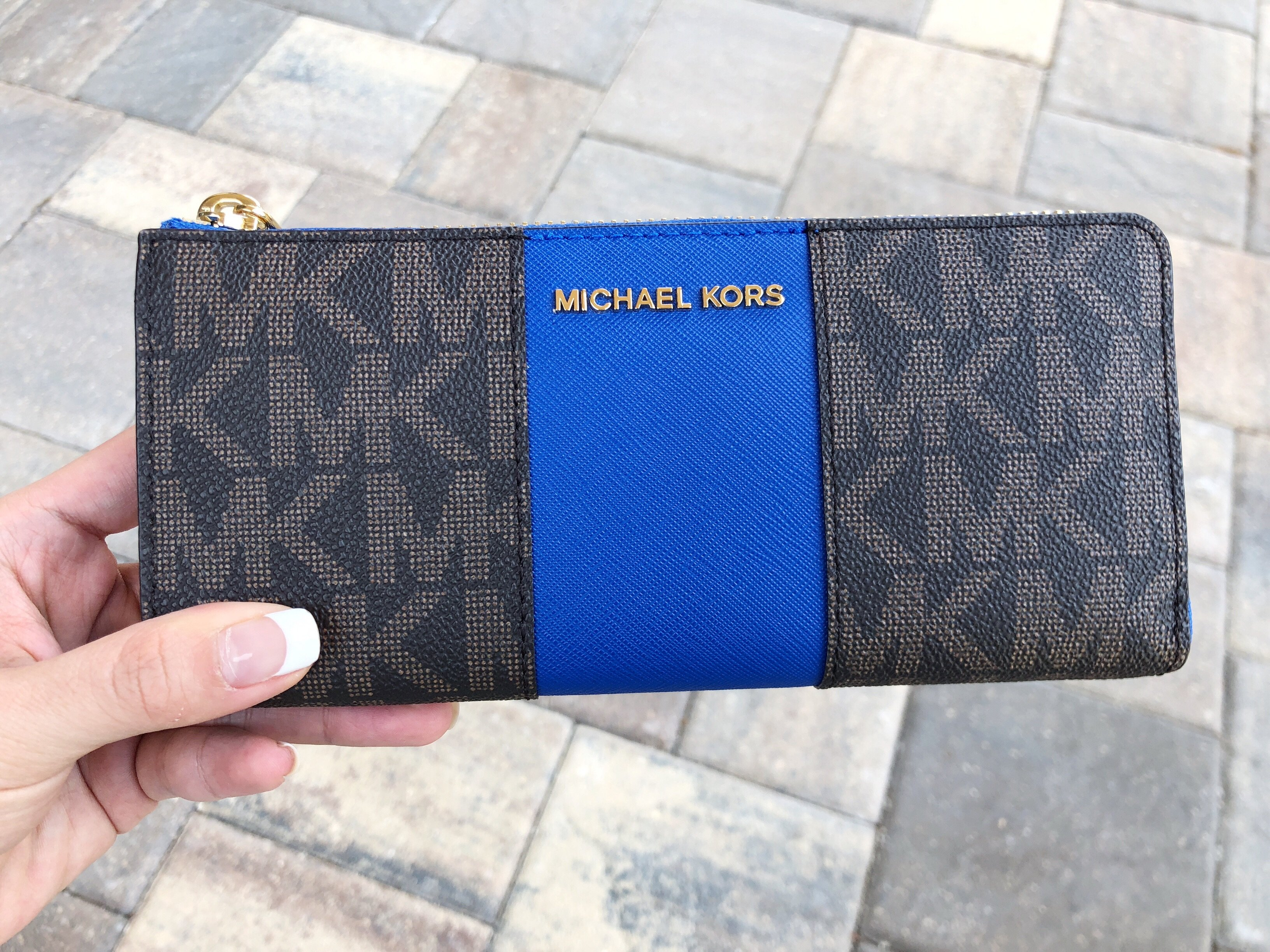 8a945bfd5e28 Michael Kors - Michael Kors Jet Set 3/4 Zip Around Continental Wallet Brown  MK Electric Blue - Walmart.com