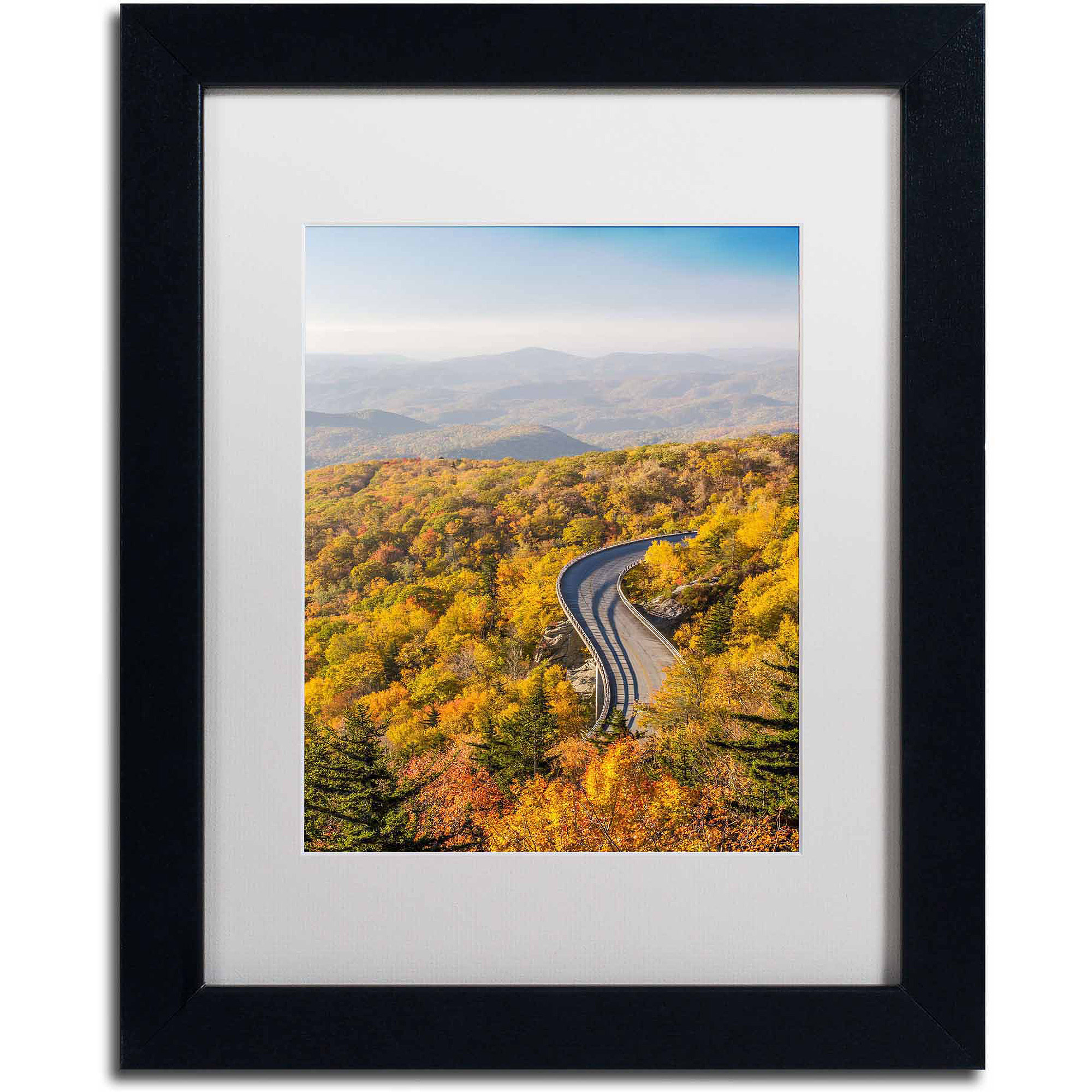 "Trademark Fine Art ""Blue Ridge Parkway"" Canvas Art by Pierre Leclerc, White Matte/Black Frame"