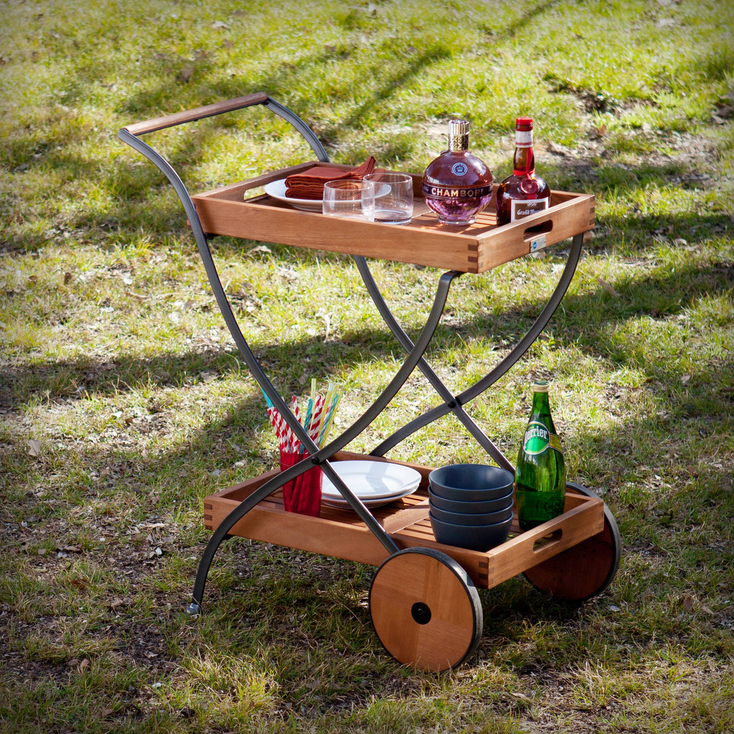 Southern Enterprises Bella Outdoor Serving Cart, Oiled Hardwood and Renovation Grey by