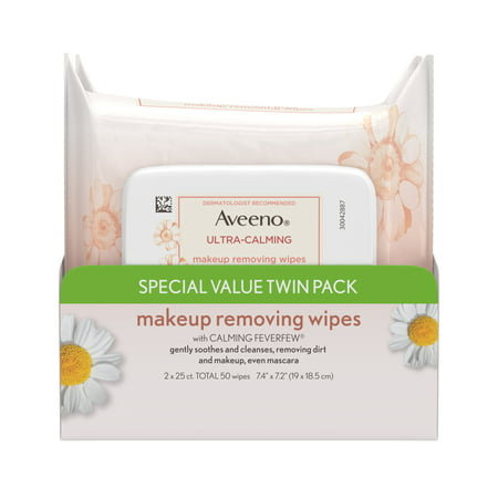 Aveeno Ultra-Calming Makeup Removing Wipes, Twin
