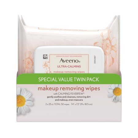 Twin Pack, Aveeno Ultra-Calming Makeup Remover Wipes