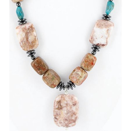 Certified Authentic Navajo .925 Sterling Silver Natural Turquoise Jasper Native American Necklace