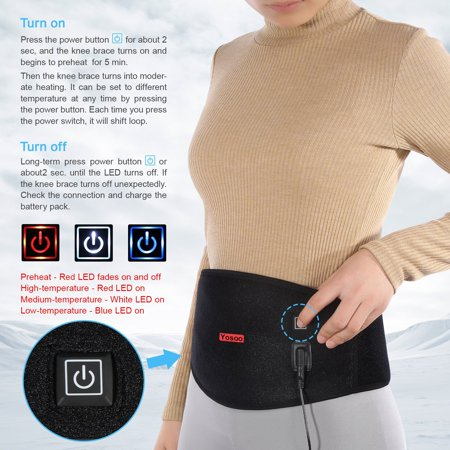 Back Brace and Support, VGEBY Therapy Heated Waist Brace with Electric Warmer Heating Pad Compression Lower Back Wrap Lumbar Back Waist Band Belt Pain Relief for Men Women Scoliosis Sciatia