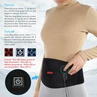 Heated Waist Belt, HERCHR Heating Pad Lumbar Lower Back Brace Belt Wrap for Back Cramps Abdominal Arthritic Stomach Pain Relief - 3 heat Settings - Back Massager with Heat, Black