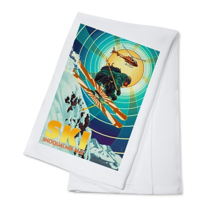Snoqualmie Pass  Washington    Heli Skiing   Lantern Press Artwork  100  Cotton Kitchen Towel