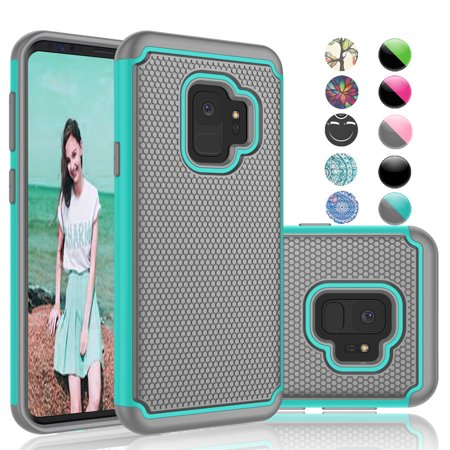 Samsung Galaxy S9 Case, Galaxy S9 Phone Case, Njjex [Shock Absorption] Drop Protection Hybrid Dual Layer Armor Defender Protective Case Cover For Smamsung Galaxy S9 (2018) -Turquoise (Vs Pink Galaxy S3 Phone Case)
