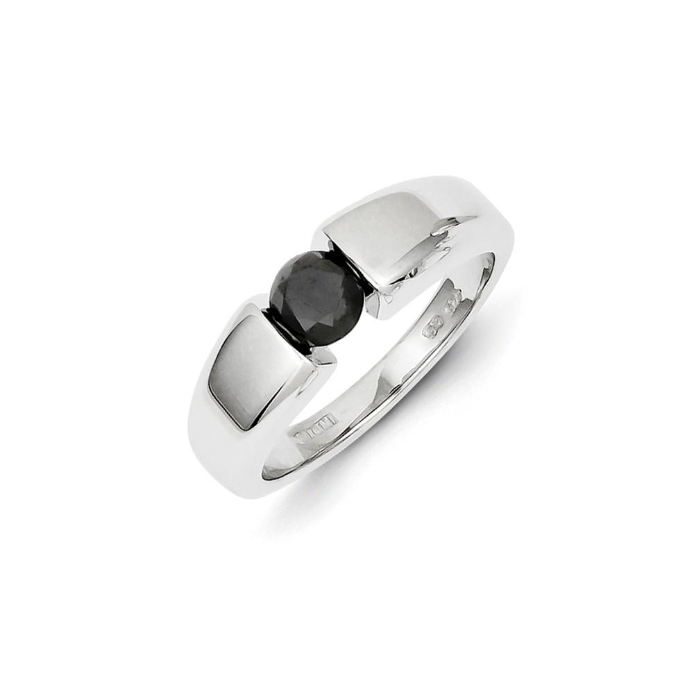 14k White Gold Black Diamond Mens Ring. Carat Wt- 1ct