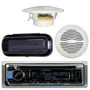 "Kenwood KMRD372BT In-Dash Marine Audio Bluetooth Receiver Bundle Combo With 2 Magnadyne AquaVibe WR65W 6.5"" Marine Hot Tub Outdoor Waterproof Speaker + Waterproof Receiver Shield Cover"
