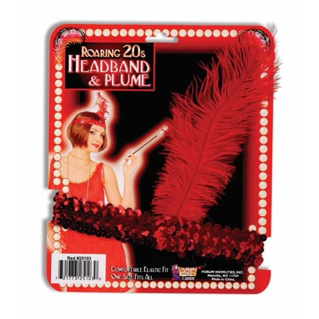Red Sequin Flapper Headband Roaring 20'S Headpiece Feather Costume Accessory](Sequin Flapper Costume)
