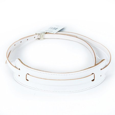 Leather Vintage Syle Guitar Strap in White, High Quality Canadian Made Genuine Leather By Gretsch From