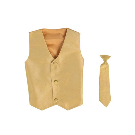 Vest and Clip On Baby Boy Necktie set - GOLD - L/XL (12-24 - Pink Satin Jacket Cheap