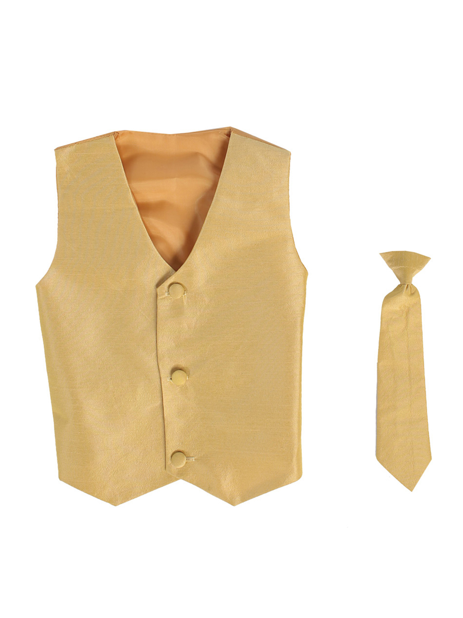 Vest and Clip On Baby Boy Necktie set - GOLD - L/XL (12-24 Months)