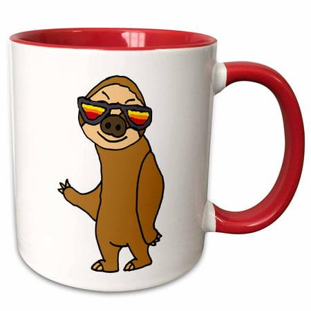 3dRose Funny Cool Sloth Wearing Hip Sunglasses Cartoon - Two Tone Red Mug, (Sloth With Sunglasses)