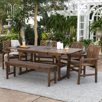 Manor Park 6-Piece Extendable Outdoor Patio Dining Set - Dark Brown