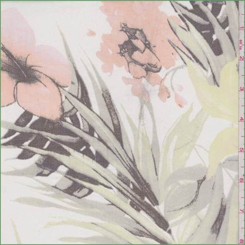 White Multi Tropical Floral Silk Chiffon, Fabric By the Yard