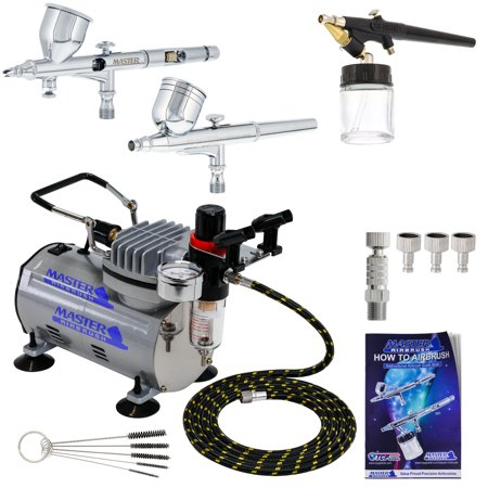 Pro 0.2 Fine Detail 3 Airbrush Compressor Set Kt Dual-Action Nail Art Auto Paint
