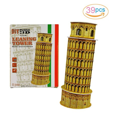 8-Piece Leaning Tower Mini 3D Puzzle Building Toy Brain Teaser ()