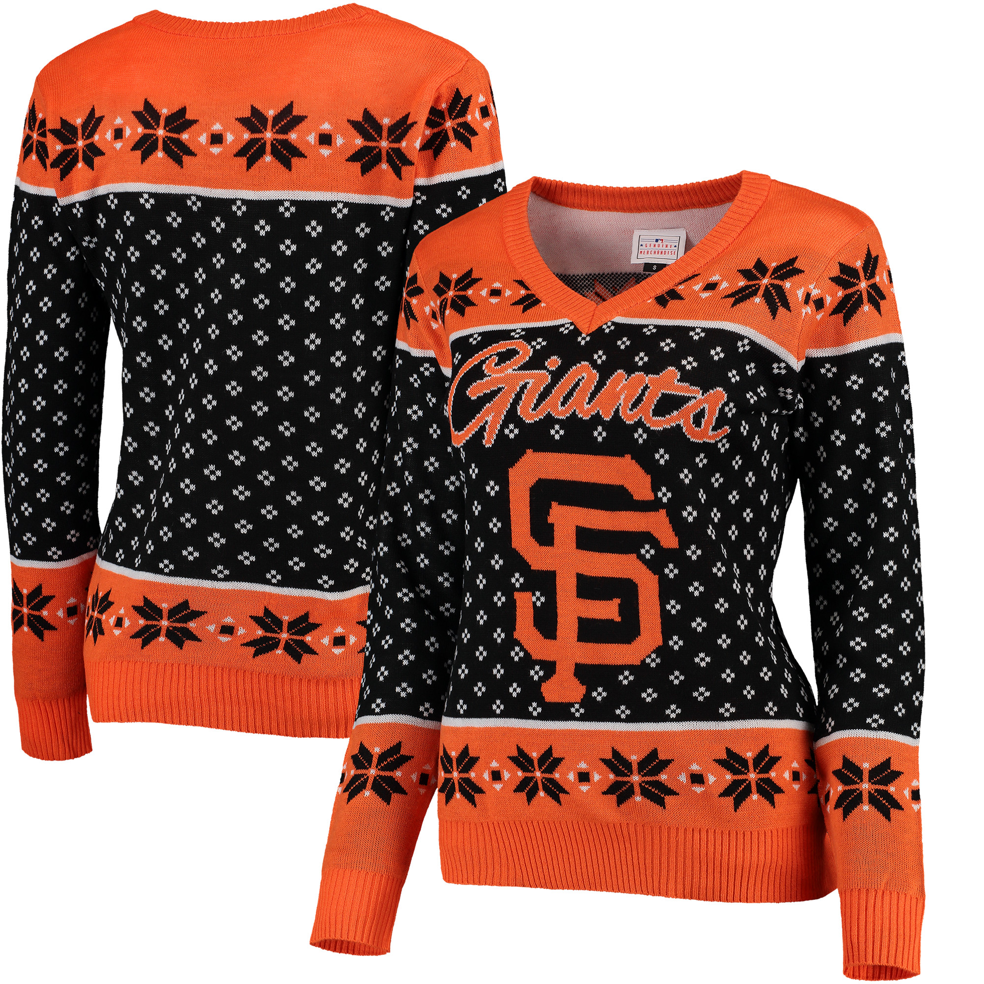 San Francisco Giants Women's Big Logo V-Neck Pullover Sweater - Black