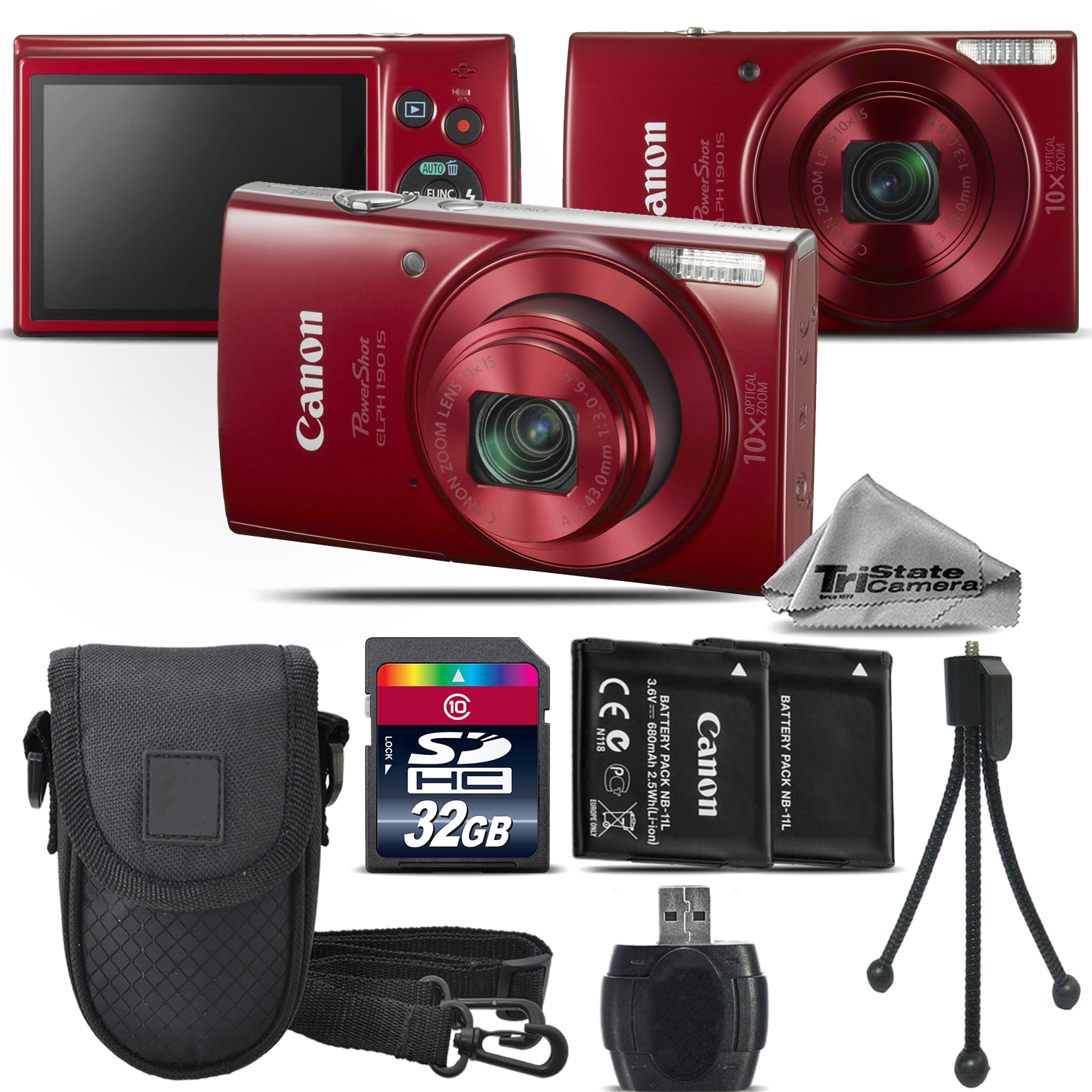 Canon PowerShot ELPH 190 Digital Camera Red 1087C001 10X Optical Zoom - 32GB Kit