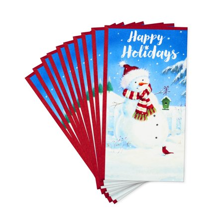Hallmark Pack of Christmas Money or Gift Card Holders, Festive Snowman (10 Cards with Envelopes) ()