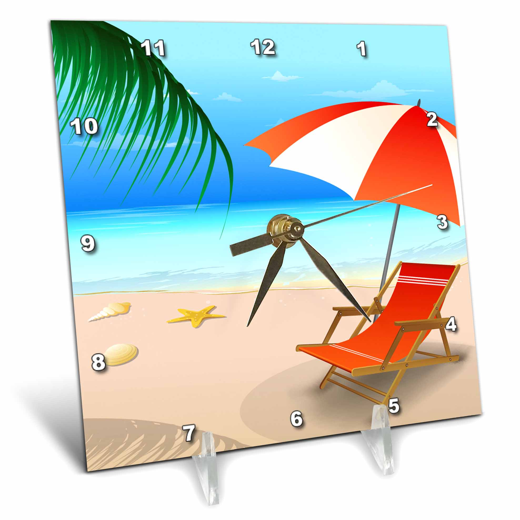 3dRose Blue and Sandy Beach Scene With Beach Lounger and Umbrella In Orange and White, Desk Clock, 6 by 6-inch by 3dRose
