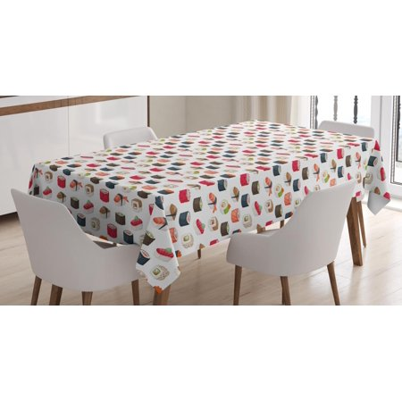 - Sushi Tablecloth, Yummy Sushi Rolls Japanese Maki and Nigiri Food Rice and Tuna Traditional Asian Meal, Rectangular Table Cover for Dining Room Kitchen, 52 X 70 Inches, Multicolor, by Ambesonne