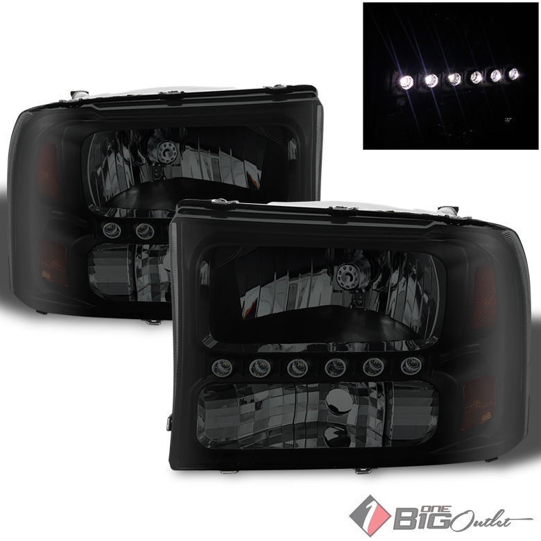 For 1999-2004 F2/3/4/550 SD, 2000-2004 Excursion Black Smoked Headlights w/DRL Built-In Pair L+R 2000 2001 2002 2003