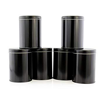 Double Seal Tea Canisters (6-Pack); Black Metal Round Tea Tins w/Interior Rubber Seal Double Wall Tee