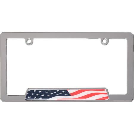 Custom Ad Plate (Custom Frames Chrome Metal Stars and Stripes License Plate)