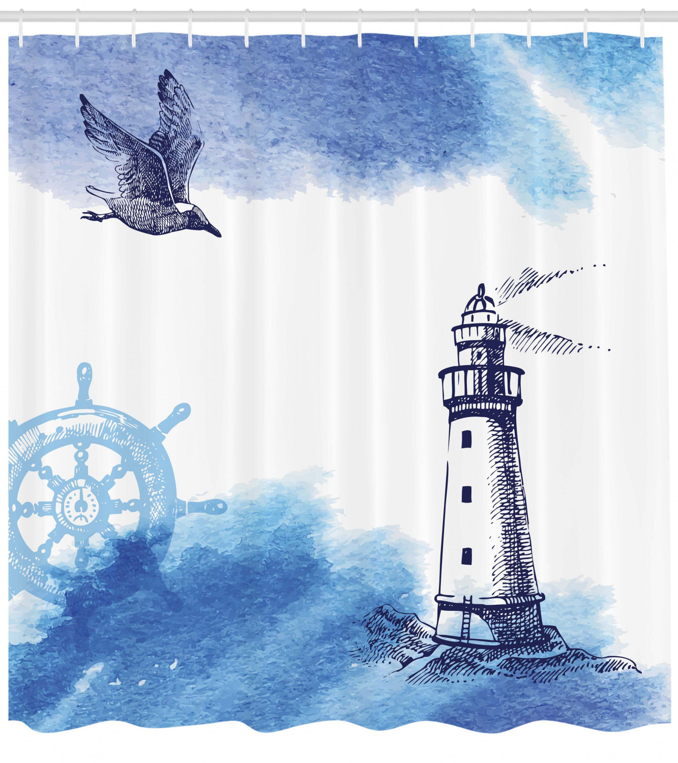 Lighthouse Shower Curtain Nostalgic Watercolors With Gull