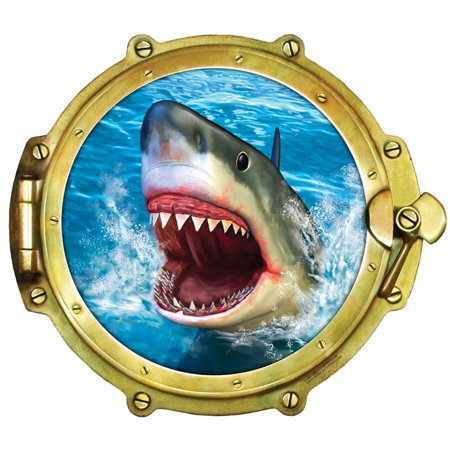 Window Views Peel & Stick Porthole Wall Decal: Shark (12 in x 10.75 in) (Stick Figure Window Decals)