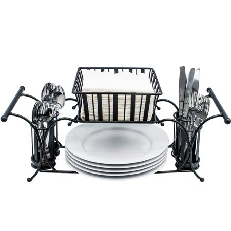 Sorbus Utensil Buffet Caddy - Includes Napkin, Utensil, Plate Holder, Stackable/Detachable - Ideal for Entertaining, Buffet, Kitchen, Dining, Picnics, etc (Black) (Buffet Caddy)