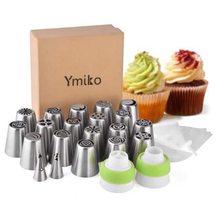 Russian Piping Tips,20 PCS Ymiko Russian Nozzles Piping Tips with 20 Disposable Piping Bags+ 2Colour Coupler Cake Decorating Set kit For Cake Cupcake Decorating](Cupcake Decorating Ideas)