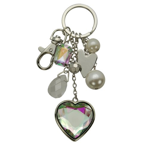 Cultured Freshwater Pearl and Multi-Stone Accent Silvertone Purse Charm