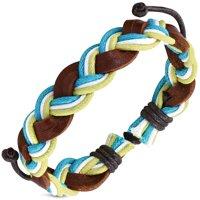 Brown Black Leather Braided Adjustable Mens Womens Unisex Bracelet