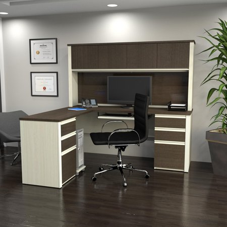 Bestar Prestige + L-Shaped Workstation Including Two Pedestals, White Chocolate and Antigua Brown Tuscany Corner Workstation