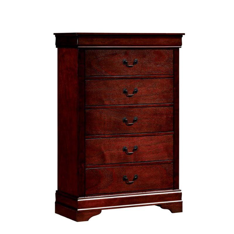 Furniture of America Cedric Modern 5 Drawer Chest in Cherry
