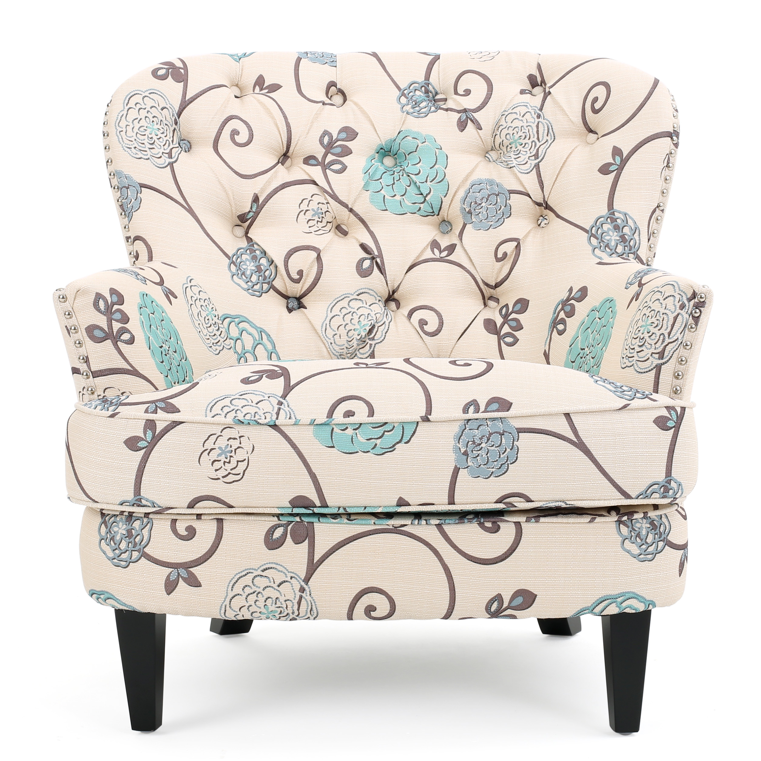 Alfred Floral Fabric Upholstered Club Chair, White and Blue by GDF Studio