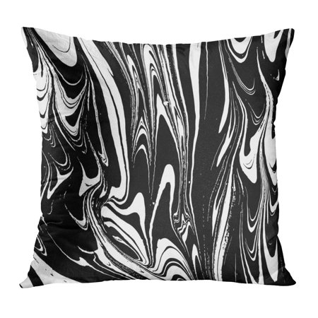 ECCOT Abstract Ink Marbling Black and White Marble Ebru Aqua and Silk Traditional Turkish Technique Painting Pillowcase Pillow Cover Cushion Case 16x16 inch