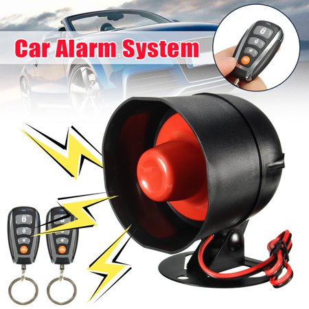 1-Way Universal Car Anti-Theft Keyless Entry S iren Alarm Protection Security System Door Central Locking Kit with 2 Remotes Control, S iren Horn, Vibrator, Emergency Switch