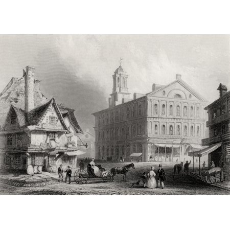 Faneuil Hall Boston Massachusetts Usa From A 19Th Century Print Engraved By H Griffiths After W H Bartlett Stretched Canvas - Ken Welsh  Design Pics (16 x 11)