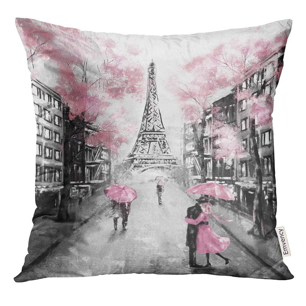 Paris Eiffel Tower Pillow 16 X 16: ARHOME Oil Painting Paris European City Landscape France