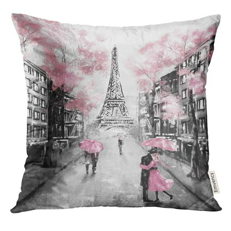 CMFUN Oil Painting Paris European City Landscape France Eiffel Tower Black White and Pink Modern Couple Under Pillow Case 20x20 Inches Pillowcase ()