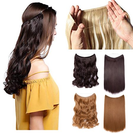 S-noilite 20 Inches Invisible Wire No Clips in Hair Extensions Miracle Secret Fish Line Hairpieces Silky Straight Synthetic hair coffee brown & light auburn, 20
