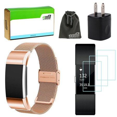 for Fitbit Charge 2,Milanese Stainless Steel Strap Replacement Band,3 Pcs  HD Clear Screen Protector, Wall Charger