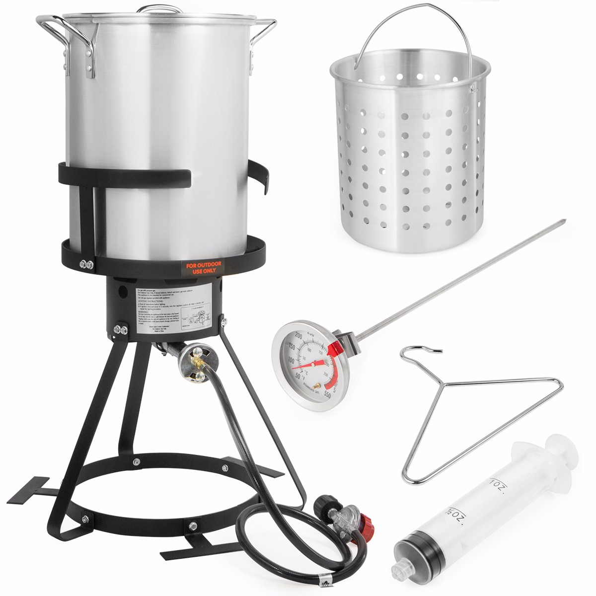 STKUSA 30 QT Turkey Aluminum Fryer Pot and Gas Stove Burner Stand, 6 Pc Set
