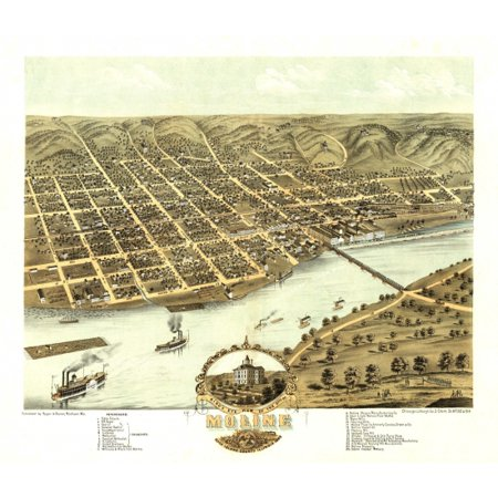 Old Map Of Moline Illinois 1869 Rock Island County Poster Print